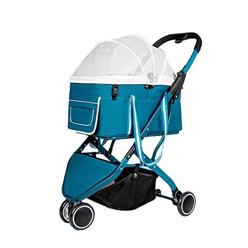 JISHIYU - Q Hunde-Kinderwagen für mittelgroße Hunde, zusammenklappbar, leicht zu gehen, Reisewagen für Haustiere...