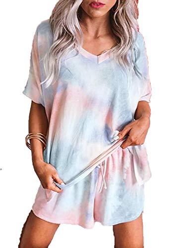 pigiama donna baci e abbracci Pigiama Donna Moda Donna Tie-Dye/Leopard Manica Corta Set Pigiama Lounge Top Short Sleepwear
