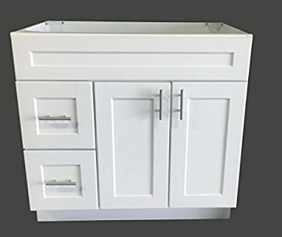 "White Shaker Single-Sink Bathroom Vanity Base Cabinet 36"" Wide x 21"" Deep WS-V3621D"