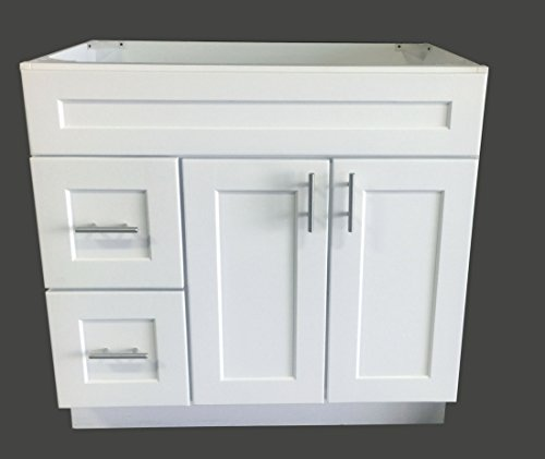 White Shaker Single-Sink Bathroom Vanity Base Cabinet 36