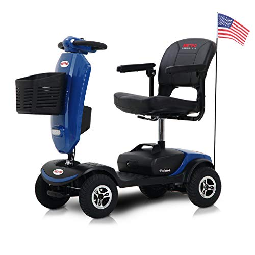 Metro Mobility Electric Mobility Scooter with 9 Inch Big Pneumatic Tires - Foldable Tiller with Cup Holders & USB Charging Port - Compact for Travel - 4 Wheel Mobile for Adults/Seniors - Patriot Blue