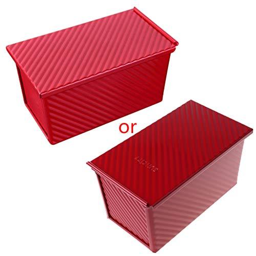 Qiuxiaoaa Molde antiadherente de aleación de aluminio para tostadas con tapa de pan corrugado para hacer tostadas antiadherentes, color rojo