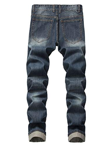 IDEALSANXUN Men's Ripped Slim Straight Leg Biker Moto Jeans with Holes (34, Dark Blue)