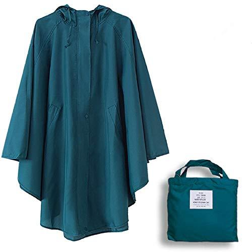 Rainsuit Mensuit Mujeres Dots Impermeable Ligero Mujer Delgado con Capucha Un dult Abrigo Largo Rain Parka Chaqueta Mar Azul