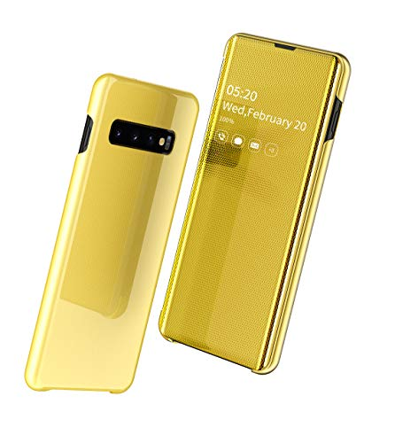 SevenPanda Huawei Mate 20 Pro Hülle, Smart Mirror Ledertasche Hülle Automatischer Schlaf Flip Stand Funktion Case All-Inclusive Anti-Fingerprint Brieftasche für Hua wei Mate 20 Pro - Gold