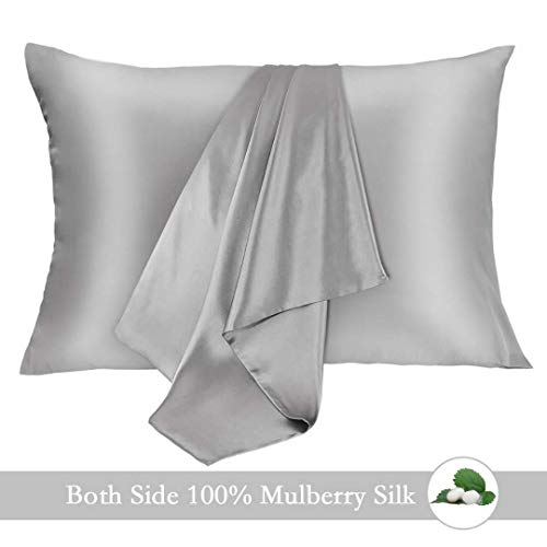 JOGJUE Silk Pillowcase for Hair and Skin 2 Pack 100% Mulberry Silk Bed Pillowcase Hypoallergenic Soft Breathable Both Sides Silk Pillow Case with Hidden Zipper Standard Size Pillow Cases Grey