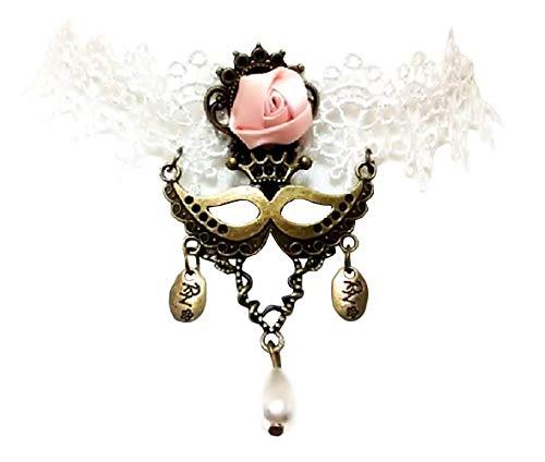 Ketting - choker - gotische stijl - kant - macrame - wit - rozen - bloemen - satijn en metalen masker - hangers