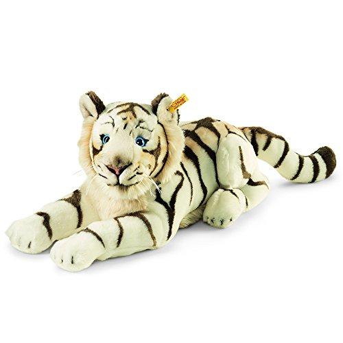 Steiff 066153 - Bharat Tiger - liggend, pluche dier, 43 cm, wit
