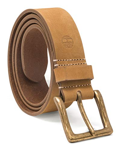 Timberland Men's 38MM Icon Nubuck Boot Leather Belt, Beige Wheat, 32