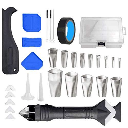 Kit de herramientas de acabado de calafateo de 32 piezas Juego de herramientas de acabado de calafateo multifuncional con aplicador de boquilla/Raspador de cabeza de acero inoxidable 3 en 1 /