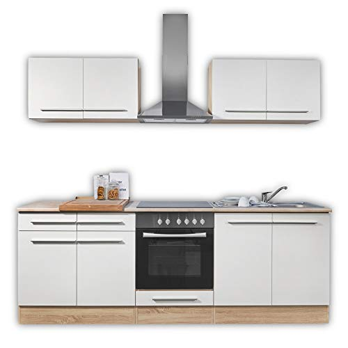 WELCOME X Küchenzeile ohne Elektrogeräte in Eiche Sonoma Optik, Weiß matt - Geräumige Einbauküche mit viel Platz und Stauraum - 240 x 204 x 60 cm (B/H/T)