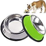 Comedero Perro con Base de Silicona Antideslizante, JYTZ 2 Unidades Bebedero Perro para Comida o Agua Comederos y Bebederos para Perros Perfecto para Perros PequeñAs y Medianos (18 cm, color verde)