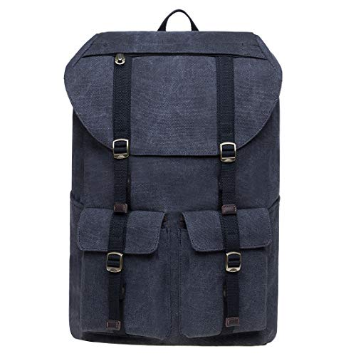 Vintage Canvas Backpack Kaukko Outdoor Travel Hiking Rucksack School Bookbags (D01-2-BLACK)
