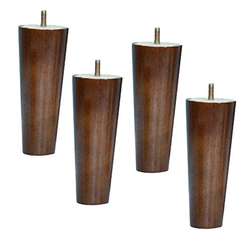 Set of 4 Sofa Feet, Solid Wood Furniture Replacement Leg, M8 Bolts, Wooden Kitchen Cabinet Feet, Table Legs, for Loveseat, Chair, Bed, Dresser, Armchair, Recliner, Coffee Table(A12cm/4.7in)