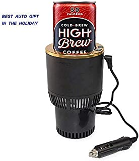 Premium 2-in-1 Car Cup Warmer Cooler Smart Car Cup Mug Holder Holiday Seasonal Present | Perfect Car Tumbler Holder for Commuter/Traveler/Road Tripper/Recreation (Black and Gold)