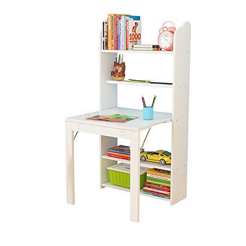 FUFU Mesas auxiliares Pared de madera montado en la Mesa, Escritorio de almacenamiento-Librero Kid con 4 estantes de nivel, Conveniente escritorio de oficina plegable con un resistente marco de escrit