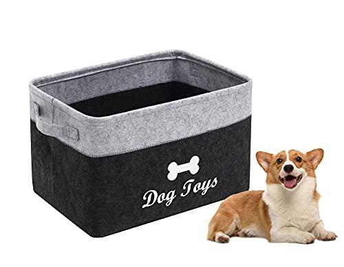 Morezi Filz-Spielzeugkiste für Haustiere, mit griffen,faltbare aufbewahrungsboxen ideal für die Organisation von Hundespielzeug, Hundekleidung,dunkelgrau hellgrau