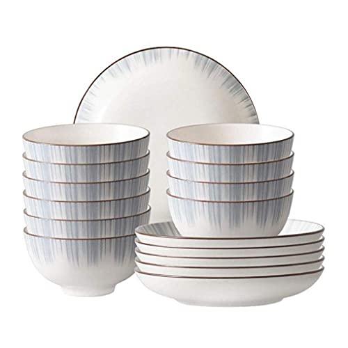KELITINAus Set da Pranzo in Ceramica da 16 Pezzi Include 10 Pezzi da 4,5 Pollici Ciotola 6 Pezzi 8 Pollici Piatto Di Riso Adatto per 6 Persone