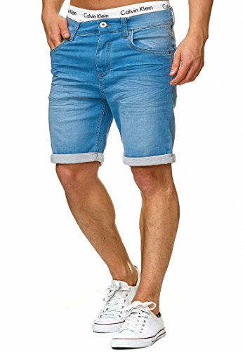 Indicode Herren Lonar Jeans Shorts mit 5 Taschen aus 98{38ea57adcb5f5142c62a56b99f0f09100b8de70fec1e2161681812976d118df5} Baumwolle | Kurze Denim Stretch Sommer Hose Used Look Washed Destroyed Regular Fit Men Short Pants Freizeithose f. Männer Blue Wash XL