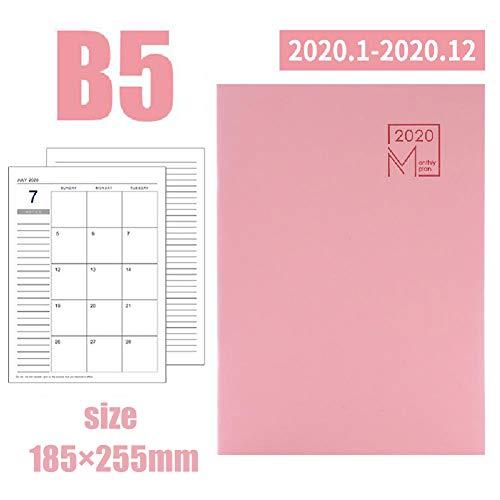 2020 Tagebuch B5 Leder Monatsplan Efficiency Handbuch Geeignet für Schüler Lehrer und Fachleute Multiple Color Design,Pink-B5