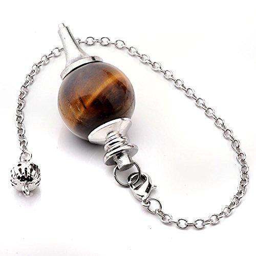 Jovivi - Péndulo esoterismo radiestesia, divinación, rod ágata, piedras chakras, colgante de combinación de pulsera con ojo de tigre natural