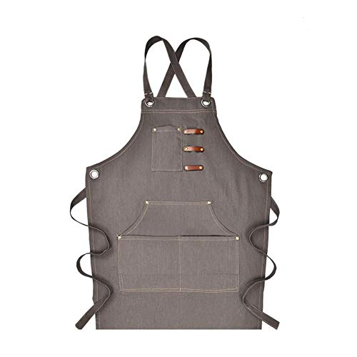 Lowest Price! Cross Back Canvas Apron with Pockets, Dust-Proof Cross Back Cleaning Apron Canvas Deni...