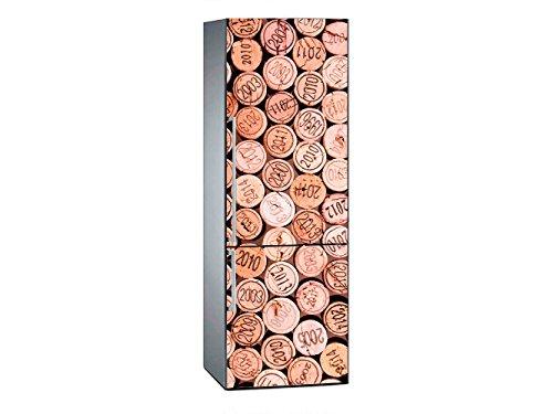 Oedim Vinilo para Frigorífico Corchos Botellas 185 x 60 cm | Adhesivo Resistente y de Fácil Aplicación | Pegatina Adhesiva Decorativa de Diseño Elegante