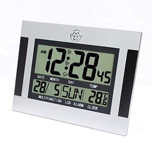 Bellaluee Despertador de Pared de Escritorio Digital con termómetro y Calendario Pantalla LCD H110