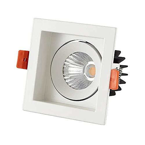 AWJ Foco de Techo LED Giratorio de 360 ángulos Regulable 5W 7W 10W 15W Cuadrado Blanco LED Empotrado Downlight Panel de diseño antideslumbrante Lámpara de Pared de Lavado con c