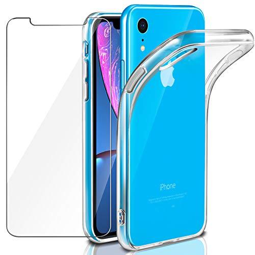 Leathlux Coque Compatible avec iPhone XR Transparente avec Verre trempé écran Protecteur, Souple Silicone Étui Protection Bumper Housse TPU Case Cover