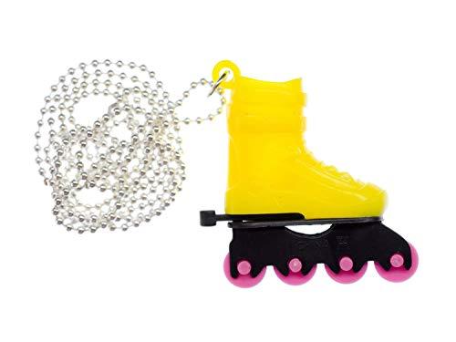 Miniblings Rollerskates Rollschuhe Inlineskates Kette Halskette Skates 80cm gelb - Handmade Modeschmuck - Kugelkette versilbert