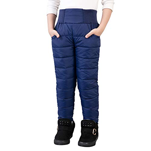 UGREVZ Girls Boys Snow Pants 2-9 Years Old Thick Winter Warm Pants Girl Activewear Clothes(A0001Navy-8)