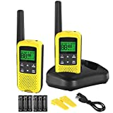 Walkie Talkies - COTRE Two Way Radios, 32 Miles Long Range USB Rechargeable Walkie Talkies w/ 2662 Channels, NOAA & Weather Alerts, VOX Scan, LED Lamplight for Outdoor Activities, Yellow(2 Pack)