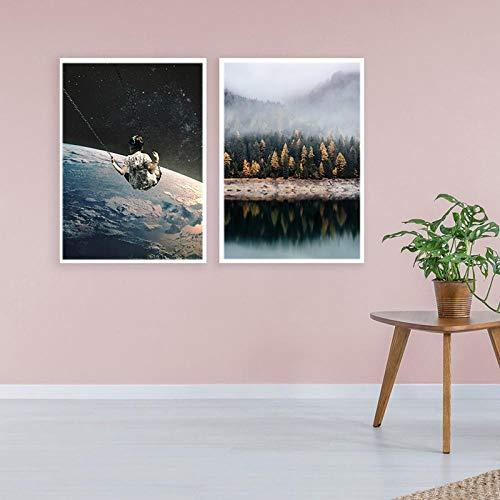 Wanddecoratie voor meisjes van de aarde, posters, kunstdruk, canvas, bos, landschap, wand voor woonkamer, 60 x 80 cm, zonder lijst