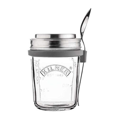 Kilner Frühstück To-Go-Glas-der ideale 2Go Müslibecher für unterwegs | clever | stylisch | schadstoffrei | 0,35 Liter Frühstücksglas, transparent, 350 ml