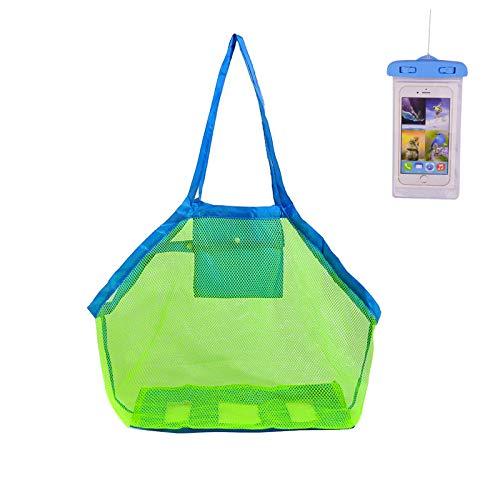 KAKOO Bolsa de Malla de Playa Juguetes de Playa Shell Bolsa de Almacenamiento Con Bolsa de Teléfono Impermeable Para Juguetes Nadar