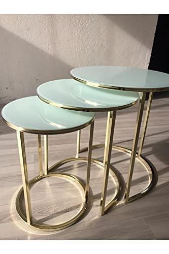 SHUJINGNCE Table Basse en Verre en Or Blanc 3 pièce pour Salon