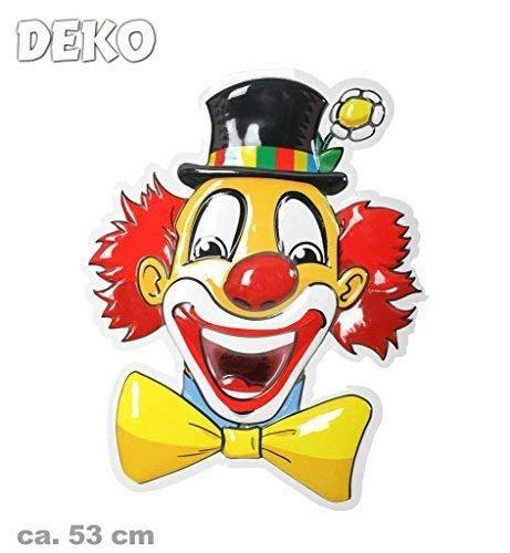 KarnevalsTeufel Wandbild Clown, Höhe ca. 53 cm, Wand-Deko, Dekoration