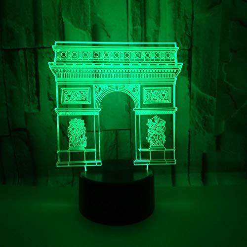 Lámpara de luz nocturna decorativa con ilusión en 3D Arco del Triunfo en Francia 7 colores e interruptor de luz, para casa, Dormitorio decoración, regalo de cumpleaños,Juguetes para niños