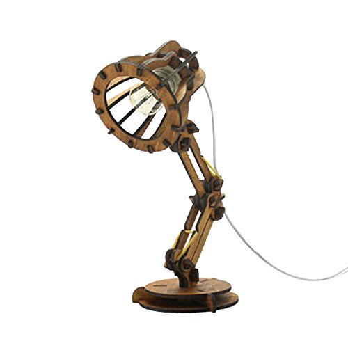 Tischlampe Kreative Retro Coffee Shop Tischlampe Holz Vintage Schreibtischlampe E27 Glühbirne 110 V 220 V DIY Schlafzimmer Bar Tisch Schreibtisch Licht Schreibtischlampe (Farbe : Braun)