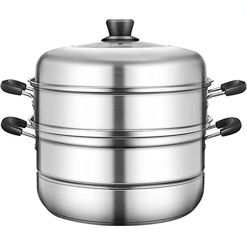 Vapor/olla de sopa/olla caliente 26 cm Multi-capa Multi-capa de fondo de acero inoxidable de fondo grueso con quema magnético, maceta de vaporizador universal
