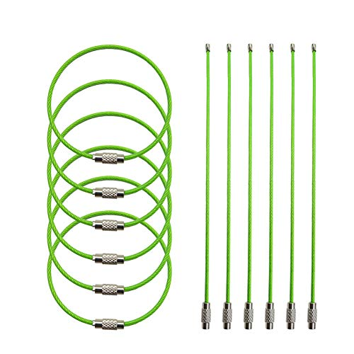 """Key Ring 6.8 """"Stainless Steel Wire Twist Lock Heavy Duty Car Keychains,2mm ID Tag Keepers Cable,Luggage Tag Loops Pet Tag ring(Green-12-ring) By H-Laner"""