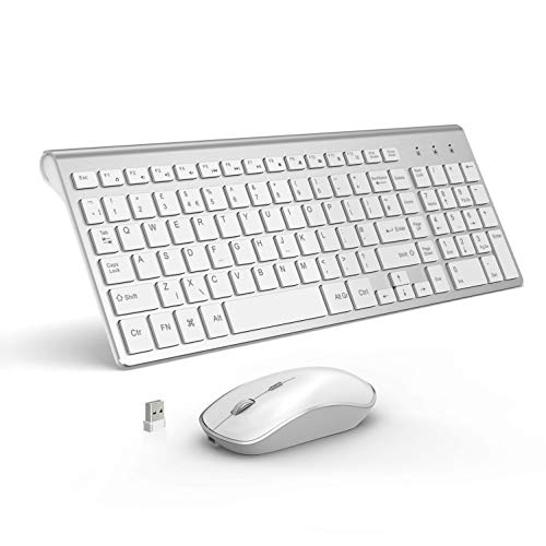 Wireless Keyboard and Mouse,Full Size Ultra Thin Rechargeable Keyboard and Mouse,Ergonomic,Power Saving Design 5 Adjustable 2400 DPI Quiet Mouse for Windows, Laptop,(QWERTY UK Layout), Silver + White