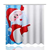 Jklt Cortina de Ducha 4pcs Santa Claus Antideslizante Aseo Alfombra Cubierta Alfombra de baño Cortina de Ducha Set Diseño Simple y Resistente al Agua (Color : Multi-Colored, Size : #1)
