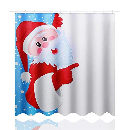 QWV Hochwertiger Duschvorhang Weihnachtsmann-Muster Stilvolle Duschvorhang wasserdichte Anti-Fading-Duschvorhang (Color : Multi-Colored, Size : #1)