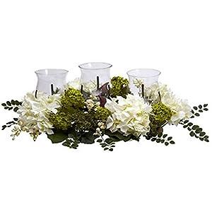 Silk Flower Arrangements White Snowball Hydrangea Triple Candelabrum Silk Flower Arrangement