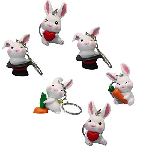 VALICLUD 6Pcs Hase Schlüsselbund Anhänger Kaninchen Und Karotte Schlüsselring Mini Kaninchen Figur Ornamente Geldbörse Schlüsselhalter Tasche Schnalle Telefon Anhänger für Kinder