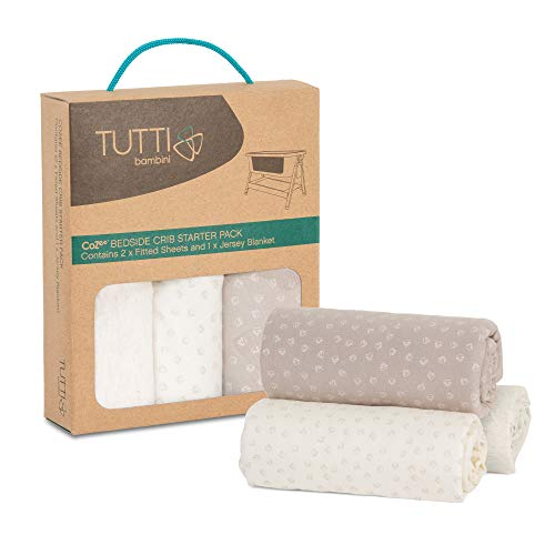 Tutti Bambini CoZee Starter Pack   2 x Fitted Sheet 1 x Jersey Blanket   Neutral/Pebble 100% Cotton for CoZee Bedside Crib