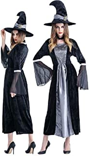 Witch Costume with Hat and Neckwear Long Sorceress Classic Dress Womens's Cosplay Costume Over Dress Female Ghost Costume ...