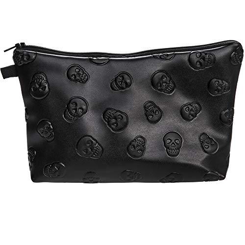 PREMYO Kosmetiktasche Klein für Handtasche - Schminktasche Damen Make Up Tasche - Federmappe Mädchen Etui Totenkopf